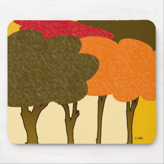 Modern fall trees mouse pad
