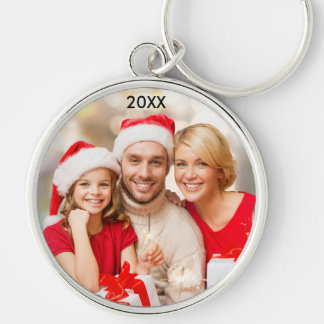 Modern Family Elegant Photo Christmas Keychain