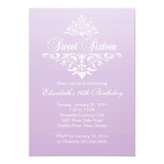 Modern Fancy Purple Sweet Sixteen Birthday Party 5x7 Paper Invitation Card