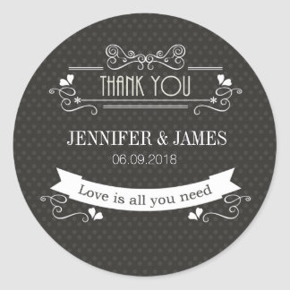 Modern fancy retro wedding sign sticker stickers