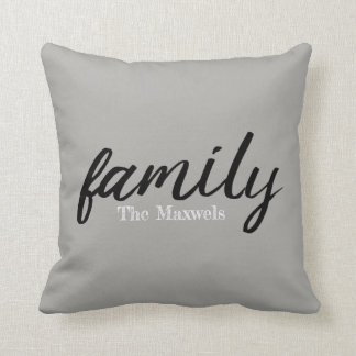 Modern Farm Family Monogramed Throw Pillow
