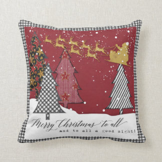 Modern Farm Merry Christmas Santa Sleigh Reindeer Throw Pillow