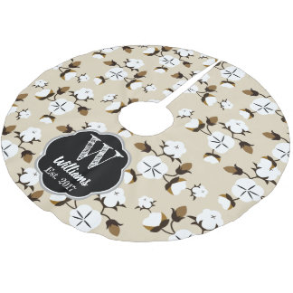 Modern Farmhouse Cotton Flowers & Beige Brushed Polyester Tree Skirt