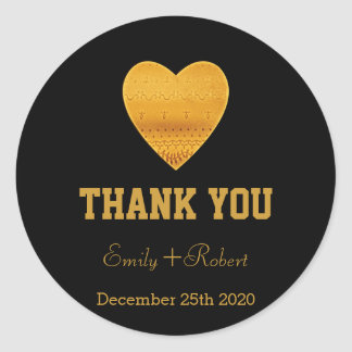 Modern Faux Foil Gold Heart Wedding Thank You Round Sticker