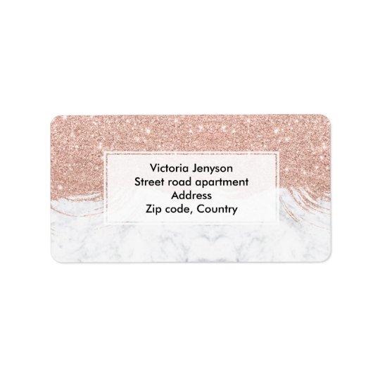 Modern faux glitter rose gold brushstrokes marble label