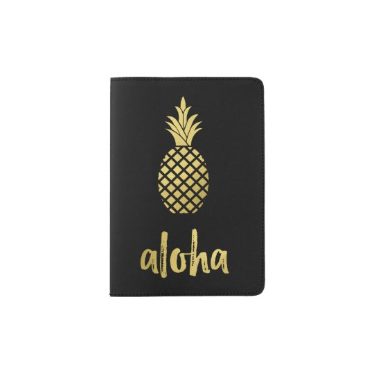 Modern Faux Gold Aloha Pineapple on Black Passport Holder