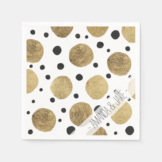 Modern faux gold black watercolor polka dots paper napkin