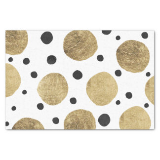 Modern faux gold black watercolor polka dots tissue paper