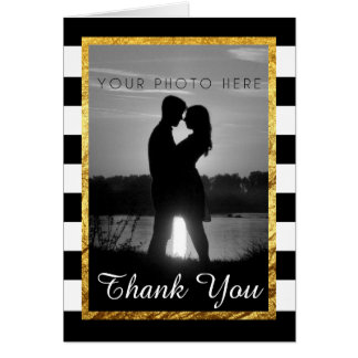 Modern Faux Gold Black White Thank You Photo Card