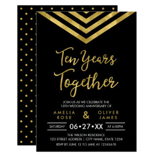 Modern Faux Gold Chevron 10th Anniversary Party Card