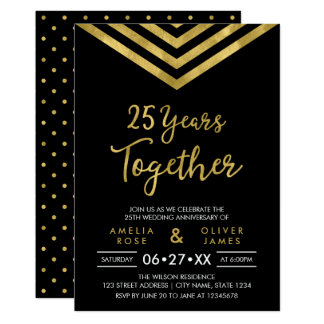 Modern Faux Gold Chevron 25th Anniversary Party Card