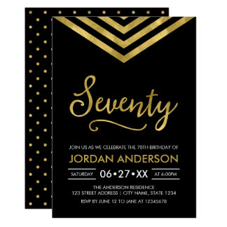 Modern Faux Gold Chevron 70th Birthday Party Card