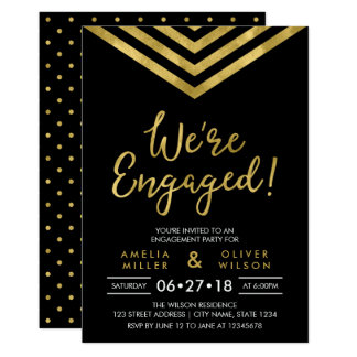 Modern Faux Gold Chevron Engagement Party Card