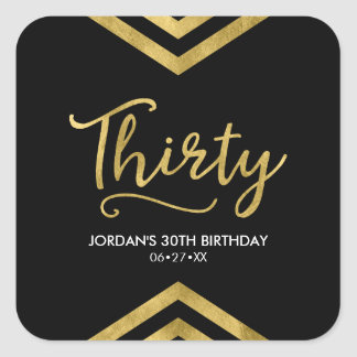 Modern Faux Gold Chevron Geometric 30th Birthday Square Sticker