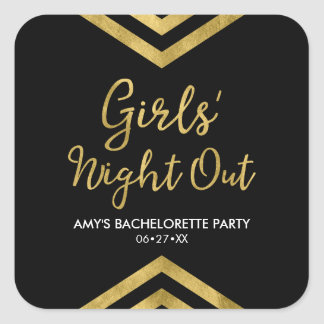 Modern Faux Gold Chevron Girls' Night Out Square Sticker