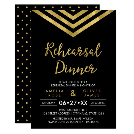 Modern Faux Gold Chevron Wedding Rehearsal Dinner Card