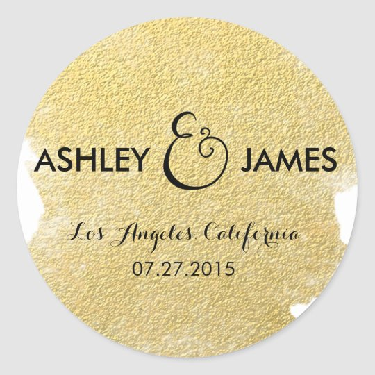 MODERN FAUX GOLD CLASSIC ROUND STICKER