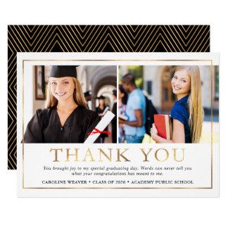 Modern Faux Gold Foil 2 Photo Graduation Thank You Card