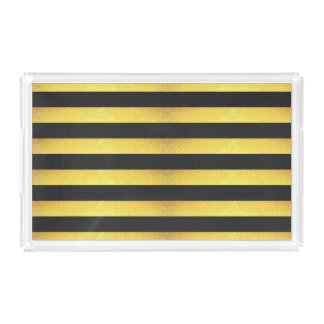 Modern Faux Gold Foil Black Stripes Acrylic Tray