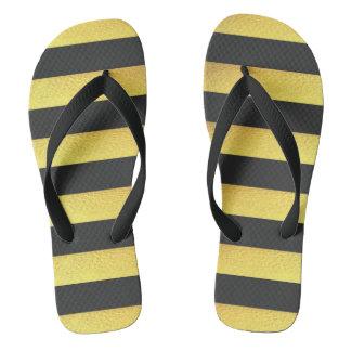 Modern Faux Gold Foil Black Stripes Flip Flops