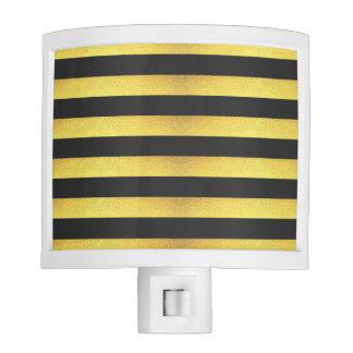 Modern Faux Gold Foil Black Stripes Night Lite