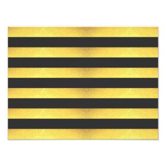 Modern Faux Gold Foil Black Stripes Photo Print
