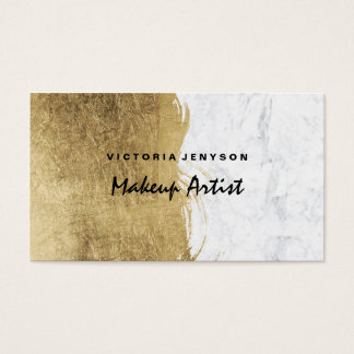 Modern faux gold foil brushstrokes marble Makeup Business Card