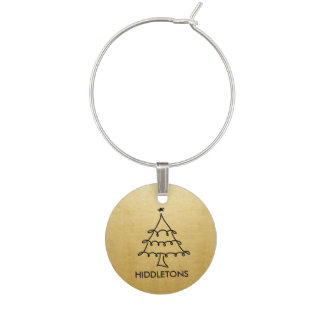 Modern Faux Gold Foil Christmas Tree Holiday Wine Charms