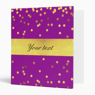 Modern Faux Gold Foil Confetti Purple 3 Ring Binder