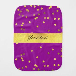 Modern Faux Gold Foil Confetti Purple Baby Burp Cloth