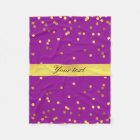 Modern Faux Gold Foil Confetti Purple Fleece Blanket
