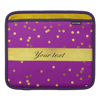 Modern Faux Gold Foil Confetti Purple Sleeves For iPads