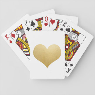 Modern Faux Gold Foil Cute Heart Wedding Favour Poker Deck