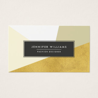 Modern Faux Gold Foil Geometric Shapes Business Card