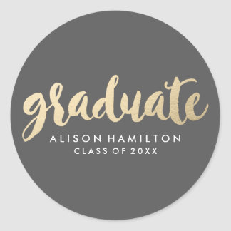 Modern Faux Gold Foil Graduation Round Sticker