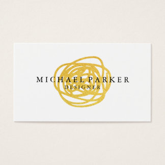 Modern Faux Gold Foil Hand Drawn Circle Business Card