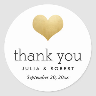 Modern Faux Gold Foil Heart Wedding Thank You Round Sticker