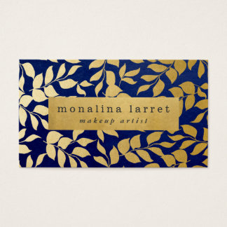 Modern Faux Gold Foil Leaves Pattern Navy Blue Business Card