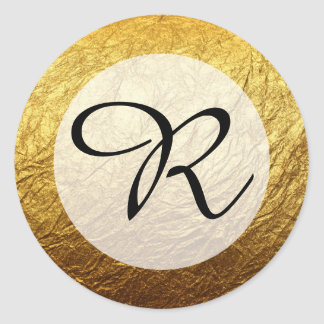 Modern Faux Gold Foil Monogram Classic Round Sticker