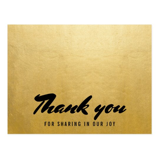 Modern Faux Gold Foil Wedding Thank You Typography Postcard