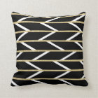Modern faux gold glitter black chevron pattern throw pillow