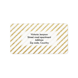Modern faux gold glitter stripes pattern label