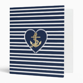 Modern faux gold navy blue anchor nautical stripes binder