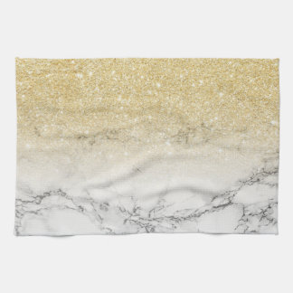 Modern faux gold ombre white marble color block kitchen towel