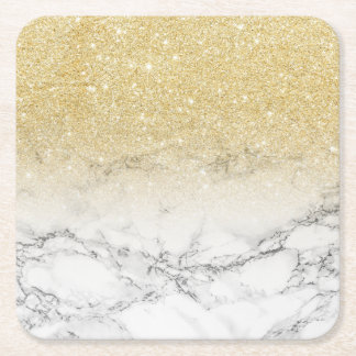 Modern faux gold ombre white marble color block square paper coaster