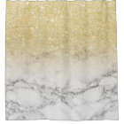 Modern faux gold ombre white marble colour block
