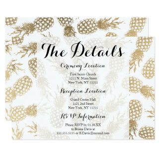 Modern faux gold pineapple tropical details card