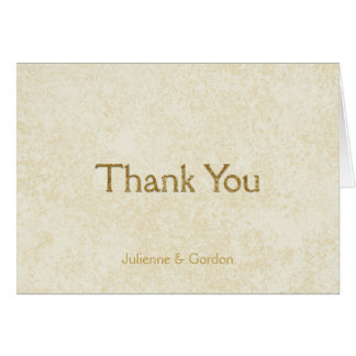 Modern Faux Gold Sparkles on Ivory Thank You Note Card