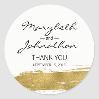 Modern Faux Gold Wedding Thank You Favor Sticker