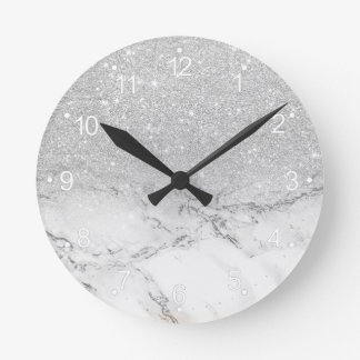 Modern faux grey silver glitter ombre white marble round clock